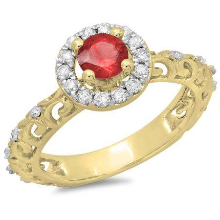 0.80 Carat (ctw) 14K Yellow Gold Round Cut Red Ruby & White Diamond Ladies Bridal Vintage Halo Style Engagement Ring 3/4 CT