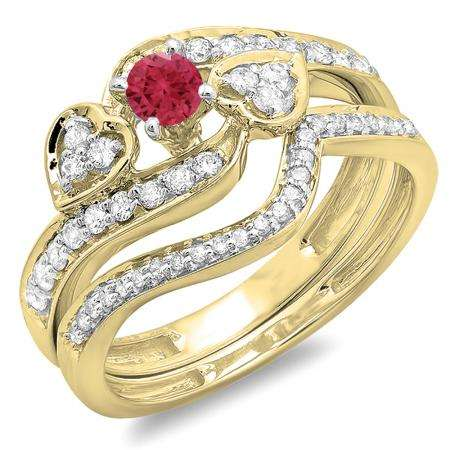 0.75 Carat (ctw) 10K Yellow Gold Round Red Ruby & White Diamond Ladies Bridal Engagement Ring With Two Wedding Bands 3 Piece Set 3/4 CT