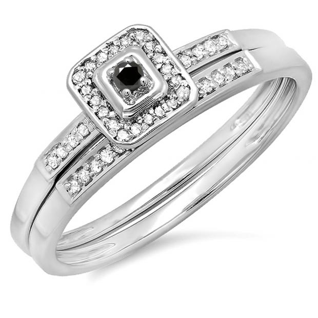 0.15 Carat (ctw) 10K White Gold Round Black & White Diamond Ladies Halo Engagement Bridal Ring Set Matching Wedding Band