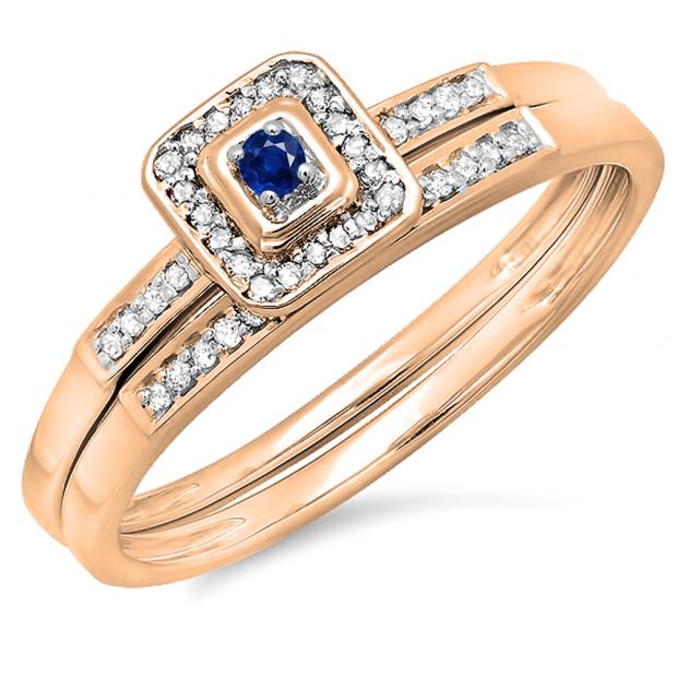 0.15 Carat (ctw) 10K Rose Gold Round Blue Sapphire & White Diamond Ladies Halo Engagement Bridal Ring Set Matching Wedding Band