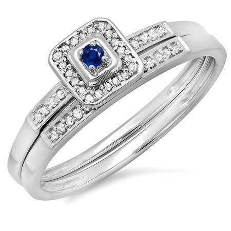 0.15 Carat (ctw) 10K White Gold Round Blue Sapphire & White Diamond Ladies Halo Engagement Bridal Ring Set Matching Wedding Band