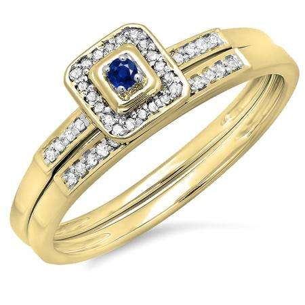 0.15 Carat (ctw) 10K Yellow Gold Round Blue Sapphire & White Diamond Ladies Halo Engagement Bridal Ring Set Matching Wedding Band