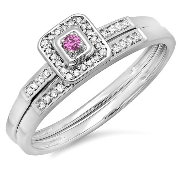 0.15 Carat (ctw) 10K White Gold Round Pink Sapphire & White Diamond Ladies Halo Engagement Bridal Ring Set Matching Wedding Band