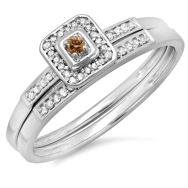 0.15 Carat (ctw) 14K White Gold Round Champagne & White Diamond Ladies Halo Engagement Bridal Ring Set Matching Wedding Band