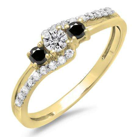 0.45 Carat (ctw) 14K Yellow Gold Round Black & White Diamond Ladies 3 Stone Bridal Engagement Promise Ring 1/2 CT