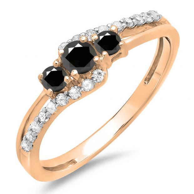 0.45 Carat (ctw) 10K Rose Gold Round Black & White Diamond Ladies 3 Stone Bridal Engagement Promise Ring 1/2 CT