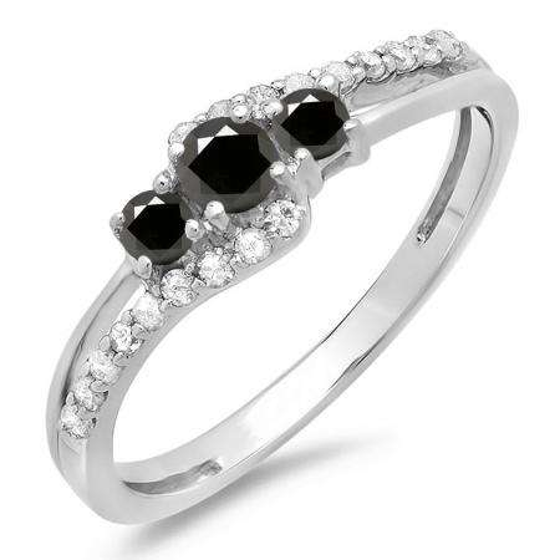 0.45 Carat (ctw) 14K White Gold Round Black & White Diamond Ladies 3 Stone Bridal Engagement Promise Ring 1/2 CT