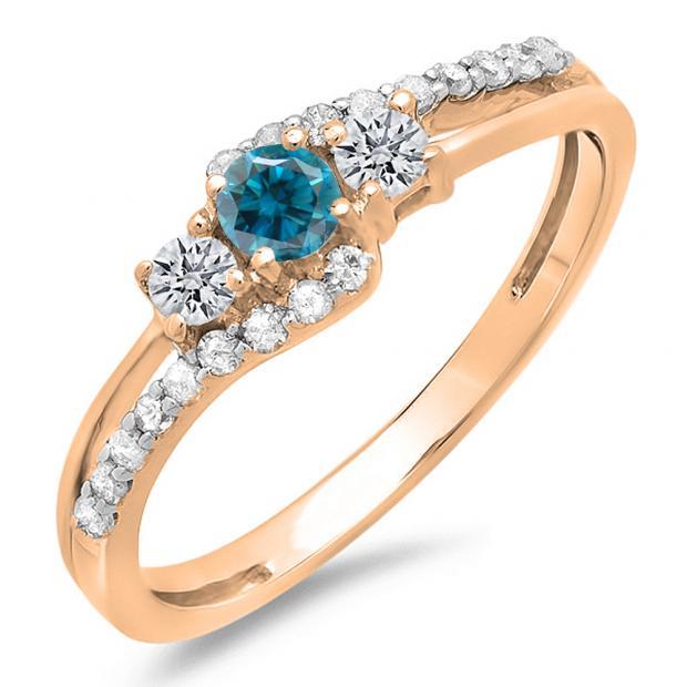 0.45 Carat (ctw) 14K Rose Gold Round Blue & White Diamond Ladies 3 Stone Bridal Engagement Promise Ring 1/2 CT