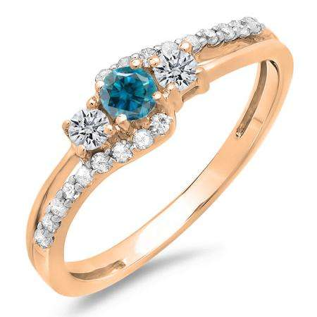 0.45 Carat (ctw) 18K Rose Gold Round Blue & White Diamond Ladies 3 Stone Bridal Engagement Promise Ring 1/2 CT