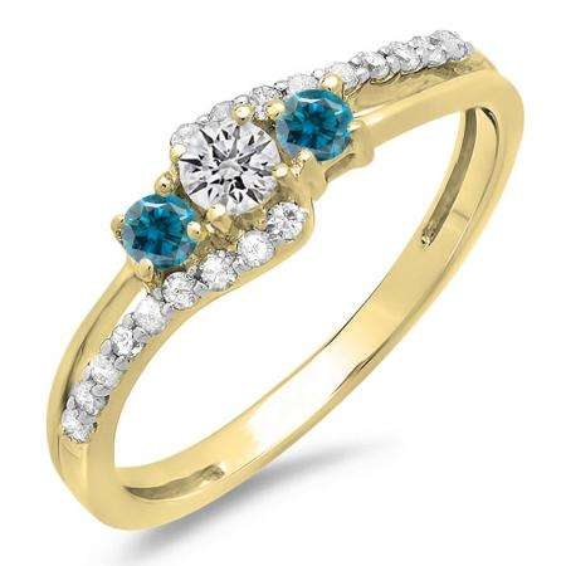 0.45 Carat (ctw) 14K Yellow Gold Round Blue & White Diamond Ladies 3 Stone Bridal Engagement Promise Ring 1/2 CT