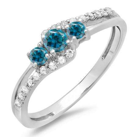 0.45 Carat (ctw) 10K White Gold Round Blue & White Diamond Ladies 3 Stone Bridal Engagement Promise Ring 1/2 CT