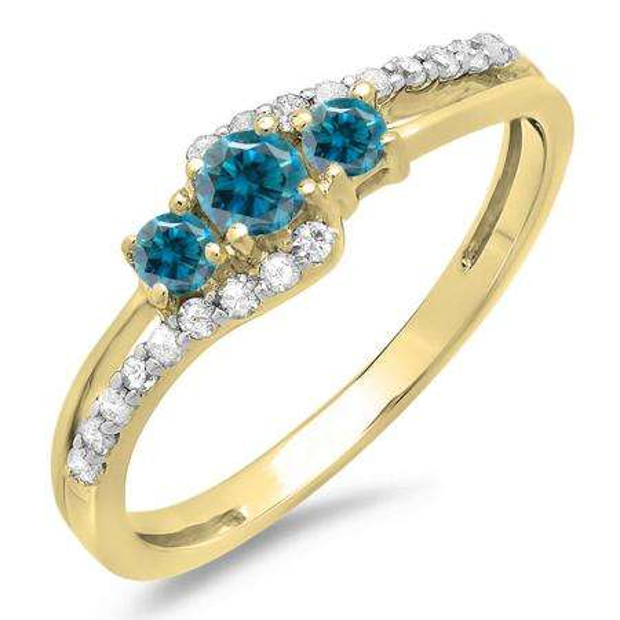 0.45 Carat (ctw) 10K Yellow Gold Round Blue & White Diamond Ladies 3 Stone Bridal Engagement Promise Ring 1/2 CT