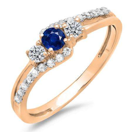 0.45 Carat (ctw) 10K Rose Gold Round Blue Sapphire & White Diamond Ladies 3 Stone Bridal Engagement Promise Ring 1/2 CT