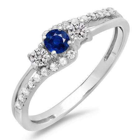 0.45 Carat (ctw) 10K White Gold Round Blue Sapphire & White Diamond Ladies 3 Stone Bridal Engagement Promise Ring 1/2 CT