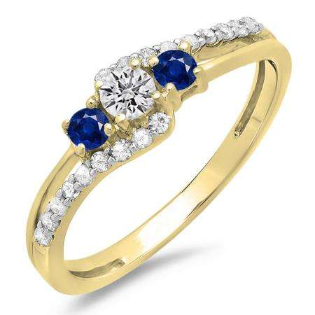 0.45 Carat (ctw) 10K Yellow Gold Round Blue Sapphire & White Diamond Ladies 3 Stone Bridal Engagement Promise Ring 1/2 CT