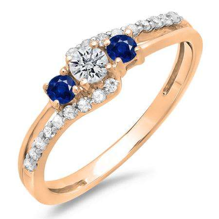 0.45 Carat (ctw) 14K Rose Gold Round Blue Sapphire & White Diamond Ladies 3 Stone Bridal Engagement Promise Ring 1/2 CT