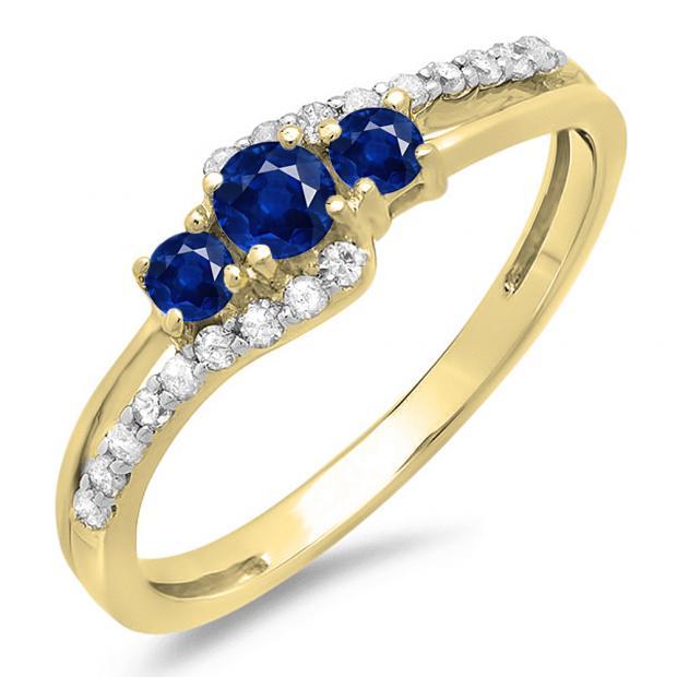 0.45 Carat (ctw) 10K Yellow Gold Round Blue Sapphire & White Diamond Ladies 3 Stone Bridal Engagement Promise Ring 1/2 CT