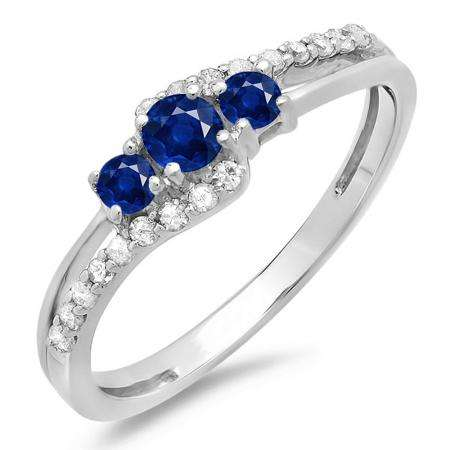 0.45 Carat (ctw) 14K White Gold Round Blue Sapphire & White Diamond Ladies 3 Stone Bridal Engagement Promise Ring 1/2 CT