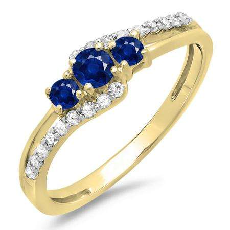 0.45 Carat (ctw) 18K Yellow Gold Round Blue Sapphire & White Diamond Ladies 3 Stone Bridal Engagement Promise Ring 1/2 CT