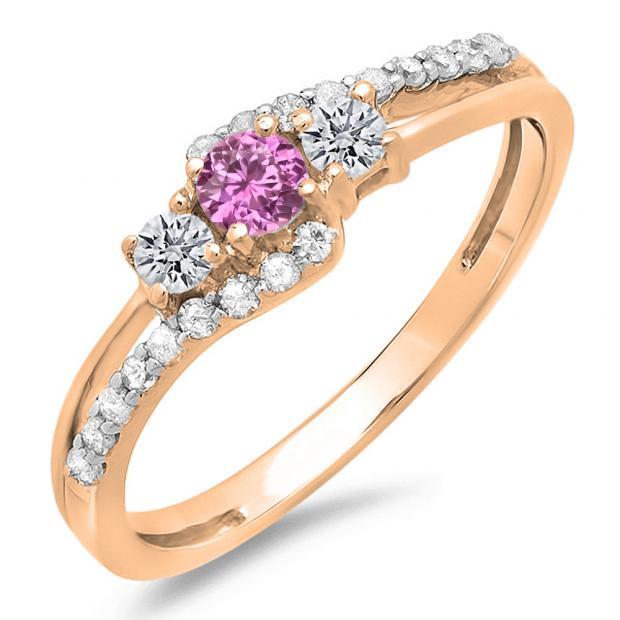 0.45 Carat (ctw) 10K Rose Gold Round Pink Sapphire & White Diamond Ladies 3 Stone Bridal Engagement Promise Ring 1/2 CT