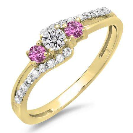 0.45 Carat (ctw) 10K Yellow Gold Round Pink Sapphire & White Diamond Ladies 3 Stone Bridal Engagement Promise Ring 1/2 CT