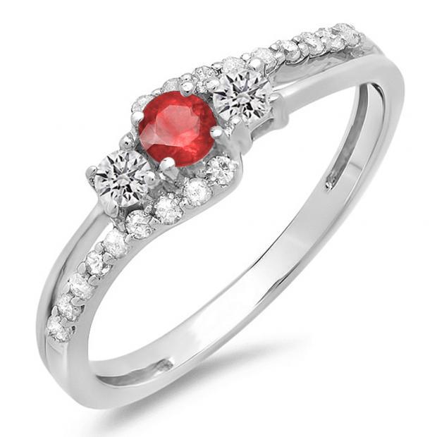 0.45 Carat (ctw) 10K White Gold Round Red Ruby & White Diamond Ladies 3 Stone Bridal Engagement Promise Ring 1/2 CT