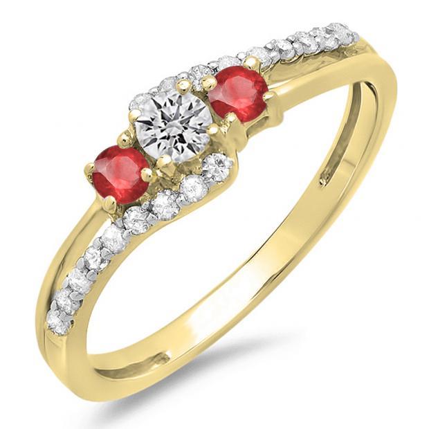 0.45 Carat (ctw) 10K Yellow Gold Round Red Ruby & White Diamond Ladies 3 Stone Bridal Engagement Promise Ring 1/2 CT