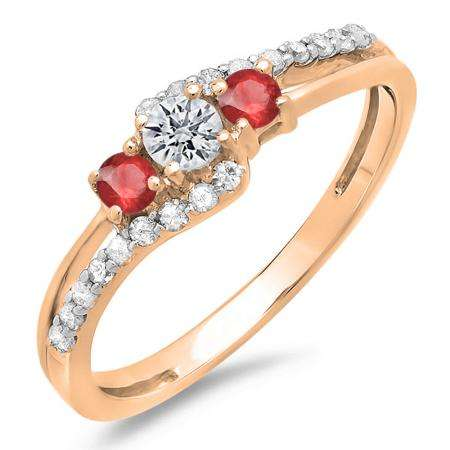 0.45 Carat (ctw) 18K Rose Gold Round Red Ruby & White Diamond Ladies 3 Stone Bridal Engagement Promise Ring 1/2 CT
