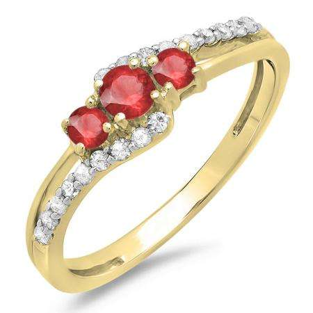 0.45 Carat (ctw) 10K Yellow Gold Round Red Ruby & White Diamond Ladies 3 Stone Bridal Engagement Promise Ring 1/2 CT