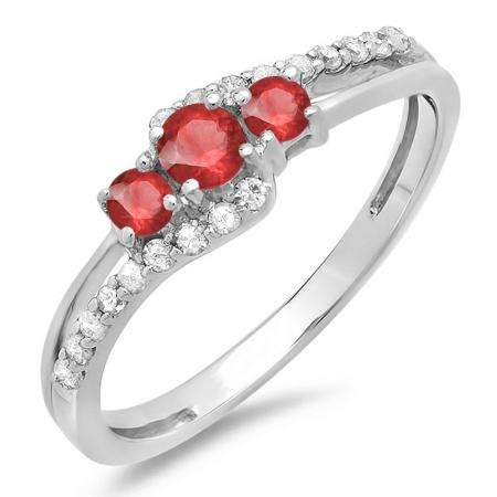 0.45 Carat (ctw) 14K White Gold Round Red Ruby & White Diamond Ladies 3 Stone Bridal Engagement Promise Ring 1/2 CT