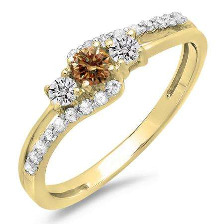 0.45 Carat (ctw) 14K Yellow Gold Round Champagne & White Diamond Ladies 3 Stone Bridal Engagement Promise Ring 1/2 CT