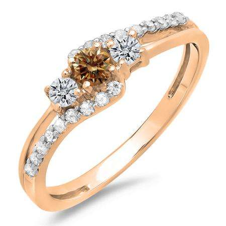 0.45 Carat (ctw) 18K Rose Gold Round Champagne & White Diamond Ladies 3 Stone Bridal Engagement Promise Ring 1/2 CT