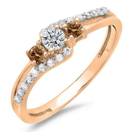 0.45 Carat (ctw) 10K Rose Gold Round Champagne & White Diamond Ladies 3 Stone Bridal Engagement Promise Ring 1/2 CT