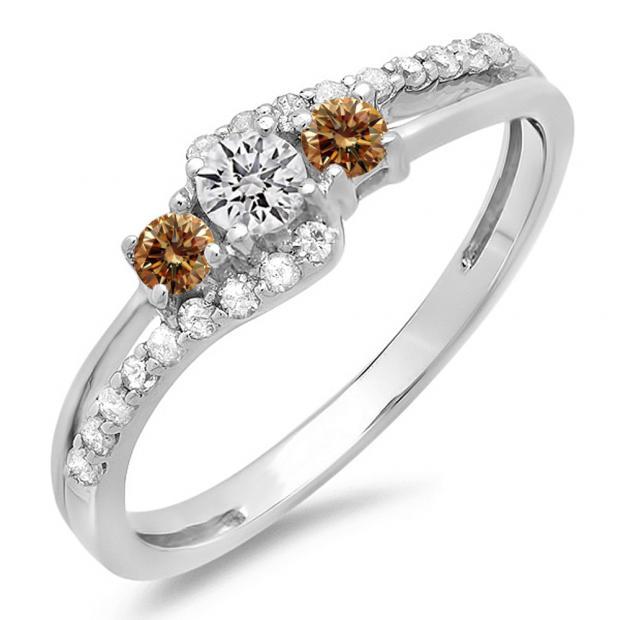 0.45 Carat (ctw) 10K White Gold Round Champagne & White Diamond Ladies 3 Stone Bridal Engagement Promise Ring 1/2 CT