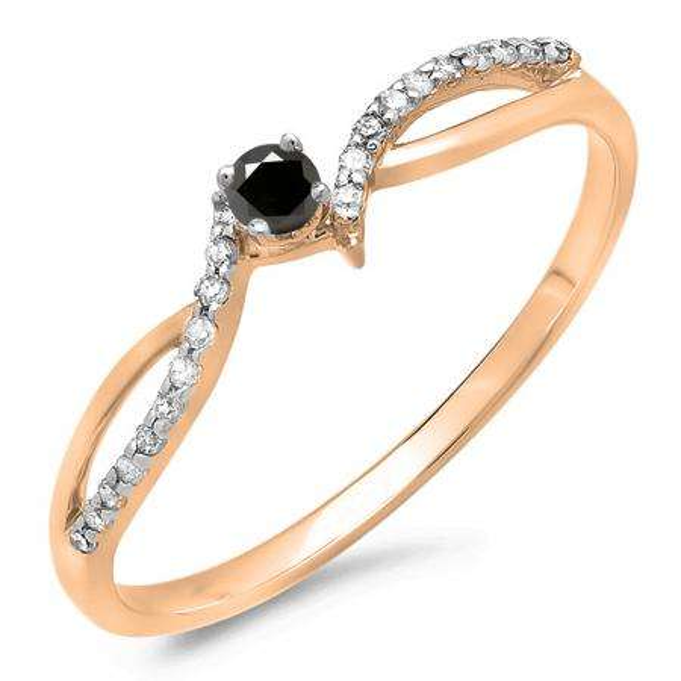 0.15 Carat (ctw) 10K Rose Gold Round Black & White Diamond Ladies Crossover Split Shank Bridal Promise Engagement Ring