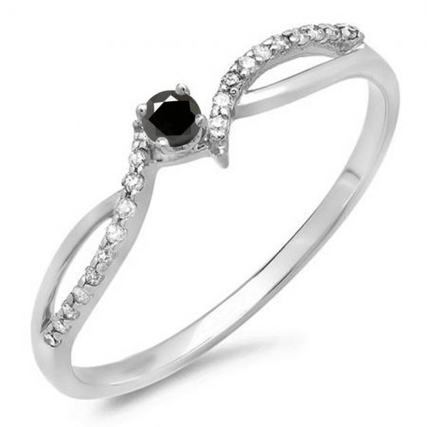 0.15 Carat (ctw) 14K White Gold Round Black & White Diamond Ladies Crossover Split Shank Bridal Promise Engagement Ring