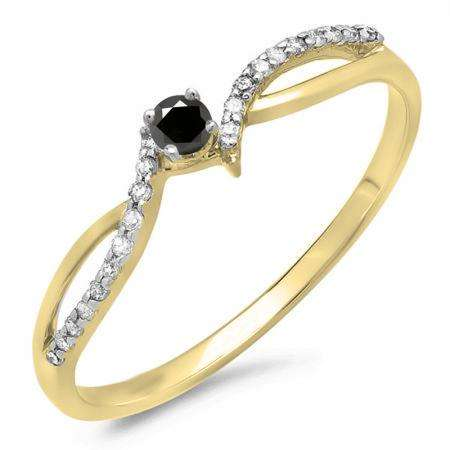 0.15 Carat (ctw) 14K Yellow Gold Round Black & White Diamond Ladies Crossover Split Shank Bridal Promise Engagement Ring