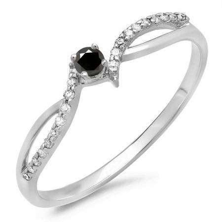 0.15 Carat (ctw) 18K White Gold Round Black & White Diamond Ladies Crossover Split Shank Bridal Promise Engagement Ring