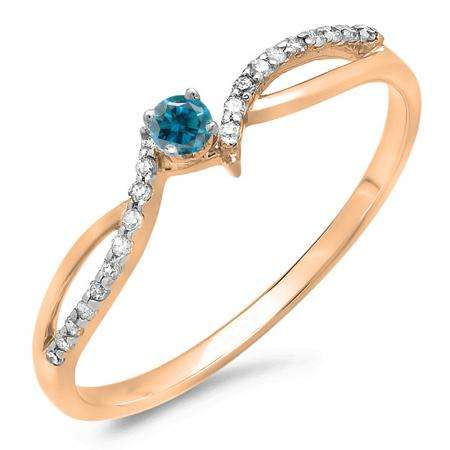 0.15 Carat (ctw) 10K Rose Gold Round Blue & White Diamond Ladies Crossover Split Shank Bridal Promise Engagement Ring