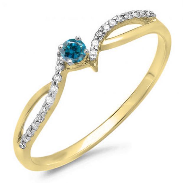 0.15 Carat (ctw) 10K Yellow Gold Round Blue & White Diamond Ladies Crossover Split Shank Bridal Promise Engagement Ring