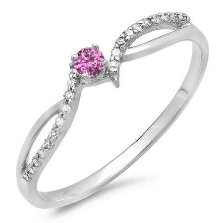 0.15 Carat (ctw) 10K White Gold Round Pink Sapphire & White Diamond Ladies Crossover Split Shank Bridal Promise Engagement Ring