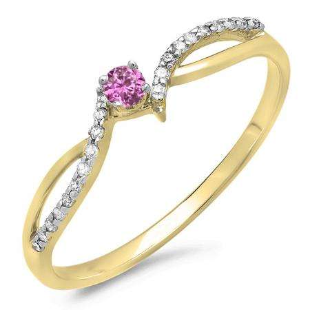 0.15 Carat (ctw) 14K Yellow Gold Round Pink Sapphire & White Diamond Ladies Crossover Split Shank Bridal Promise Engagement Ring