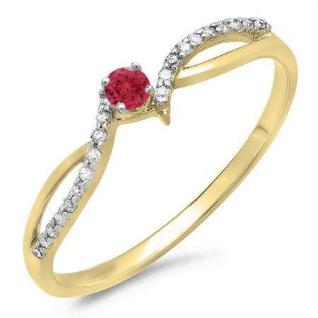 0.15 Carat (ctw) 14K Yellow Gold Round Red Ruby & White Diamond Ladies Crossover Split Shank Bridal Promise Engagement Ring
