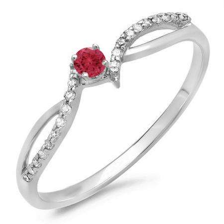 0.15 Carat (ctw) 18K White Gold Round Red Ruby & White Diamond Ladies Crossover Split Shank Bridal Promise Engagement Ring