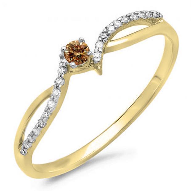 0.15 Carat (ctw) 10K Yellow Gold Round Champagne & White Diamond Ladies Crossover Split Shank Bridal Promise Engagement Ring