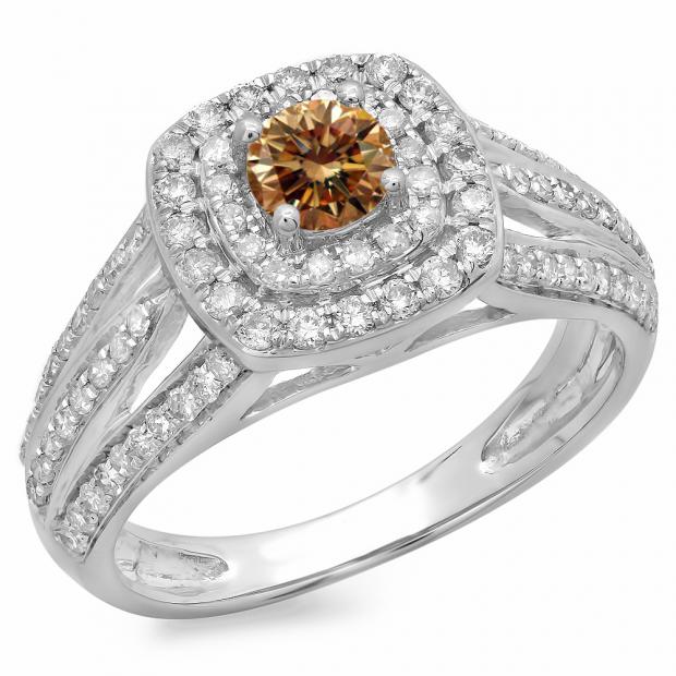 1.10 Carat (ctw) 14K White Gold Round Cut Champagne & White Diamond Ladies Split Shank Vintage Style Bridal Halo Engagement Ring 1 CT