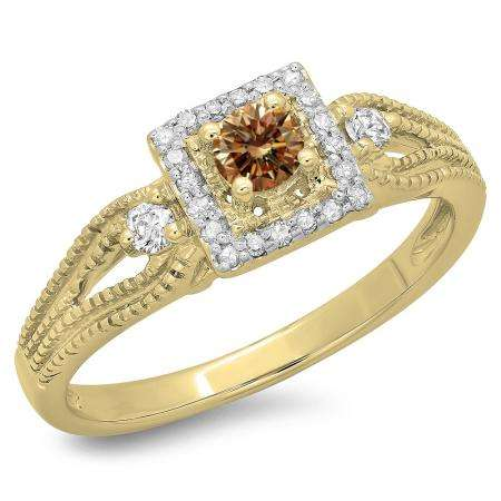 0.40 Carat (ctw) 14K Yellow Gold Round Cut Champagne & White Diamond Ladies Bridal Vintage Halo Style Engagement Ring