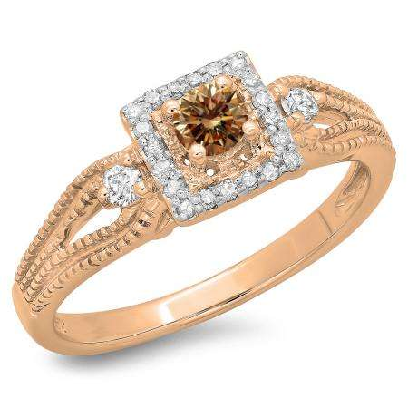 0.40 Carat (ctw) 18K Rose Gold Round Cut Champagne & White Diamond Ladies Bridal Vintage Halo Style Engagement Ring