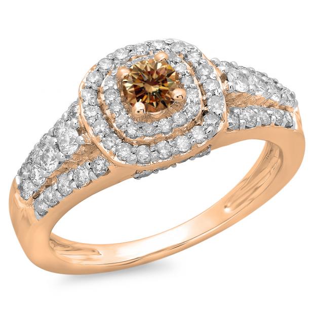 1.00 Carat (ctw) 10K Rose Gold Round Cut Champagne & White Diamond Ladies Vintage Style Bridal Halo Engagement Ring 1 CT