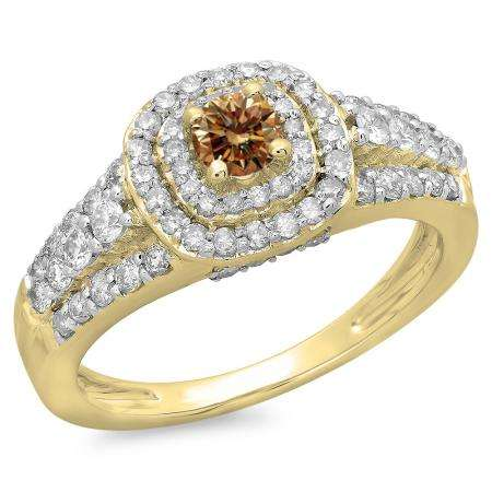 1.00 Carat (ctw) 10K Yellow Gold Round Cut Champagne & White Diamond Ladies Vintage Style Bridal Halo Engagement Ring 1 CT